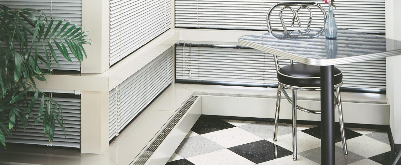 Heating convectors, built in the floor